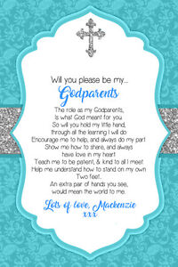 Personalised Will you be my Godparents invite poem inc envelopes C64