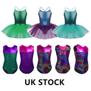 UK-Kid-Girls-Mermaid-Ballet-Leotard-Dress-Gym-Tutu-Skirt-Costume-Sports-Jumpsuit
