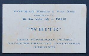Carte De Visite WHITE VOURET PARIS Metal Old Visit Card