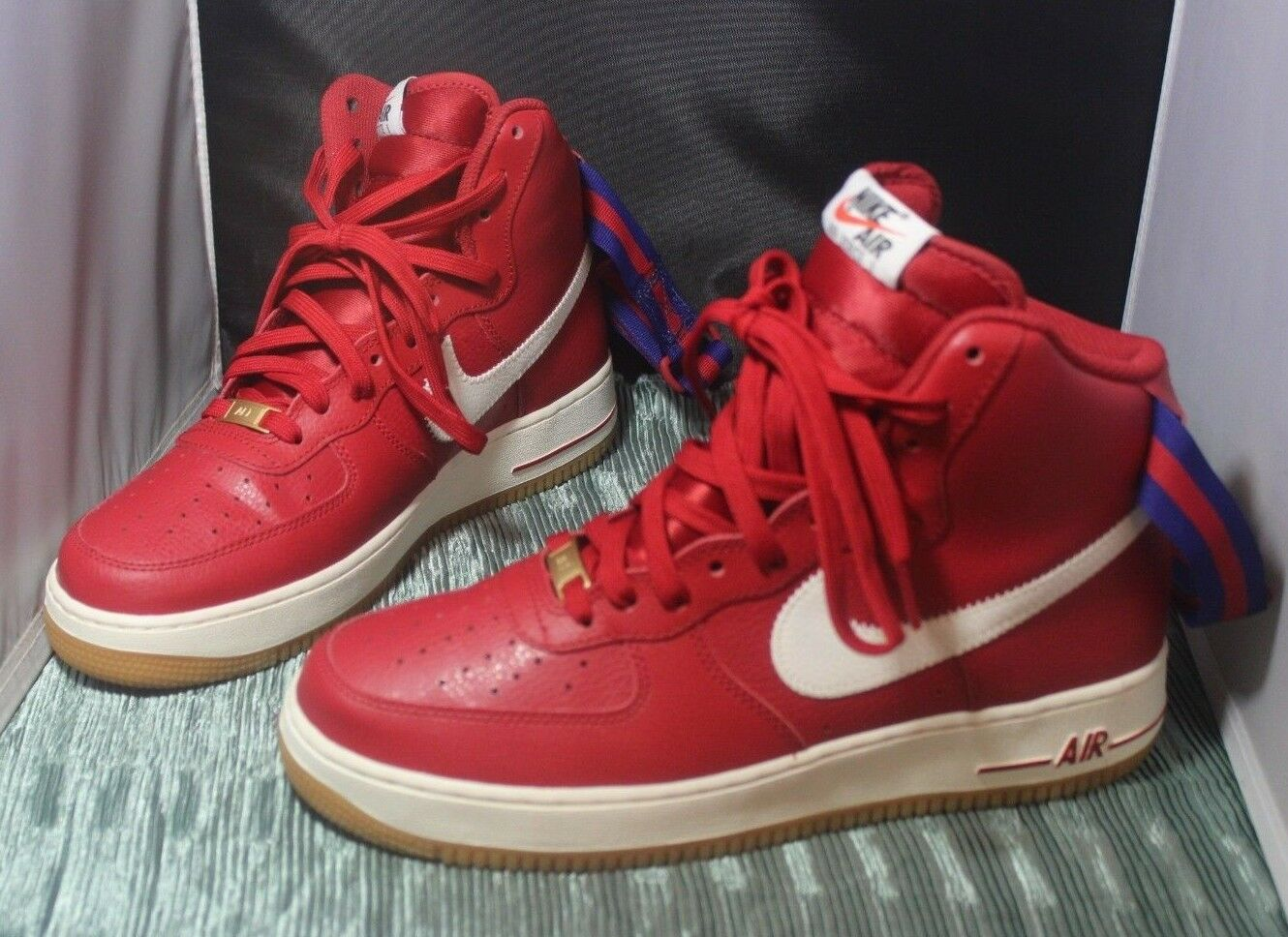 Nike Air Force 1 High '07 Red Royal Sail Gum 315121 605 Size 9 No Box