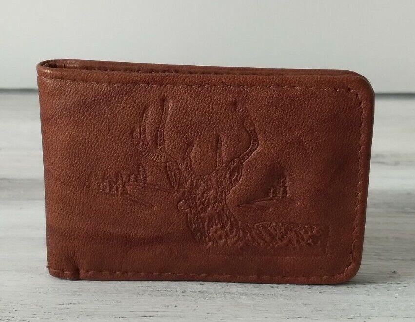 Rare VTG Men's Genuine Leather Buck Deer Embossed Magnetic Cash Money Clip