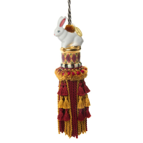 MacKenzie-Childs Ceramic Rabbit Argyle Tassel-Burgundy /& Gold-Decorative Finish