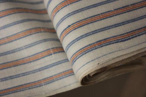 French Vintage fabric orange blue cotton UNUSED clothing shirting PER YARD