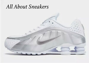 Nike-Shox-R4-034-White-White-Metallic-Silve-034-Men-039-s-Trainers-Limited-Stock-All-Sizes
