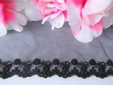 Black  color - good quality floral embroidery lace  - price for 1 yard