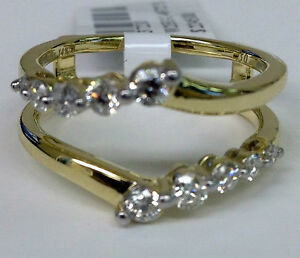 Solitaire Enhancer Diamonds Ring Guard Wrap 14k Yellow Gold Journey