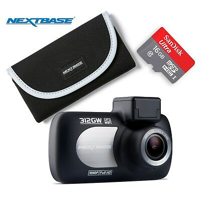 "Nextbase 312GW Dash Cam 2.7"" LED Car Recorder Night Vision GPS Wi-Fi Bundle"