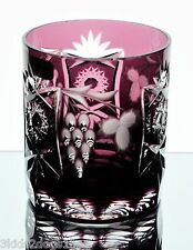 Nachtmann Traube Amethyst Purple Cut to Clear Crystal DOF Whiskey Glass New Sign