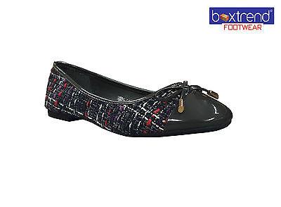 Nuevo Para Mujer Damas Boucle Arco patente la puntada Bombas mulas Zapatos Ballerina Knit