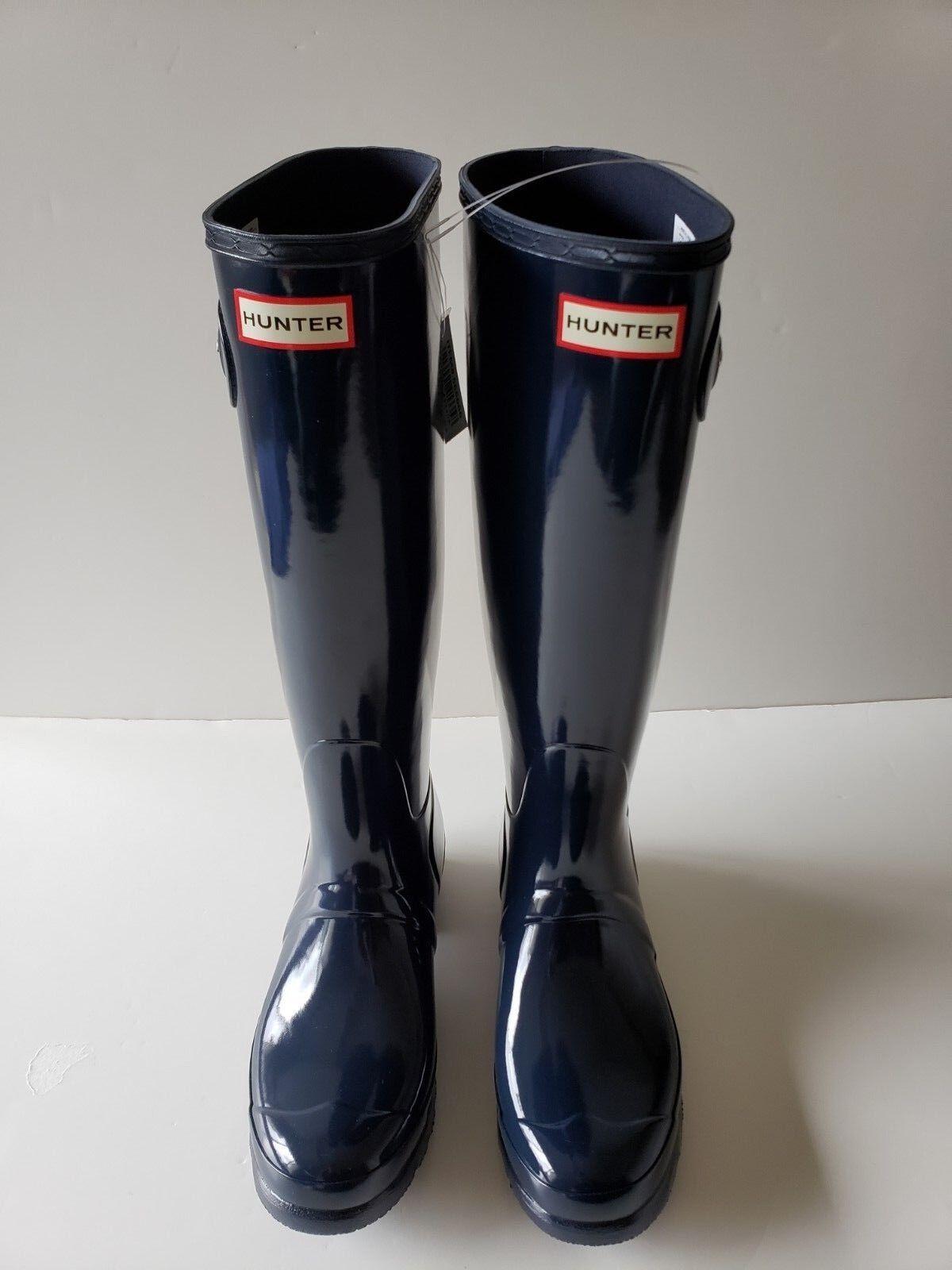 vendite online Hunter Donna  Original Tall Knee-High Rubber Rain avvio Gloss Gloss Gloss Navy Dimensione 10  varie dimensioni