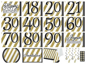 Black-amp-Gold-Happy-Birthday-Party-Napkins-18th-21st-30th-40th-50th-60-70-80-90