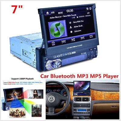 "7"" HD 1 DIN Car Bluetooth MP3 MP5 Player Stereo Rear View Audio Radio FM AUX USB"
