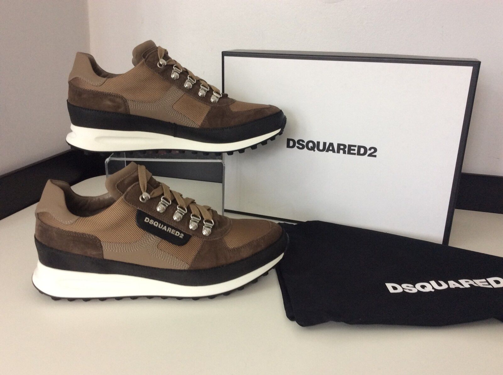 Dsquared2 Ds2 Sneakers, Runners, Eu43, Beige, Trainers NEW RRP