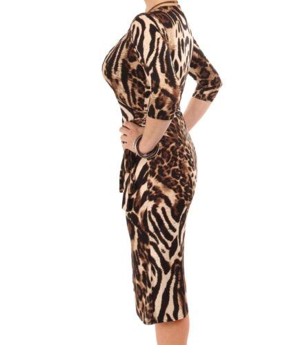 New Animal Print Wrap Dress Knee Length