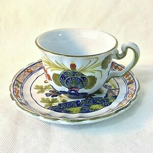 FAENZA-AMM-BLU-CARNATION-ITALY-CERAMIC-POTTERY-SET-1-COFFEE-TEA-CUP-SAUCER-23035