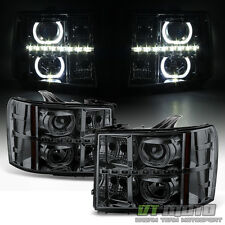 Smoke 2007-2013 GMC Sierra 1500 2500HD 3500 HD SMD LED Halo Projector Headlights