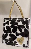 Betsey Johnson Handbag Storage Shopping Makeup Bag Black Hearts Gold Handles