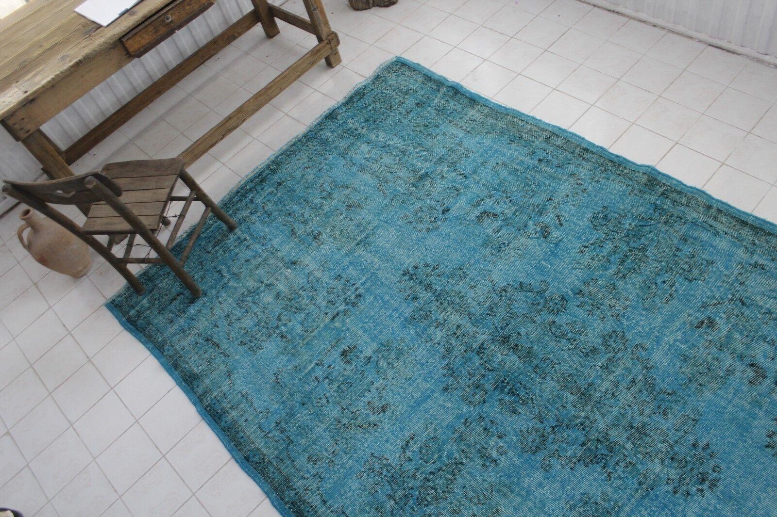 10x6 Vintage hecha a mano Overdyed alfombra turca pequeñas Turquesa 118 x75