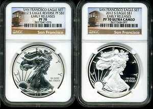2012-S $1 San Francisco Silver Eagle Set of 2 Coins PF70 NGC 3677547-076