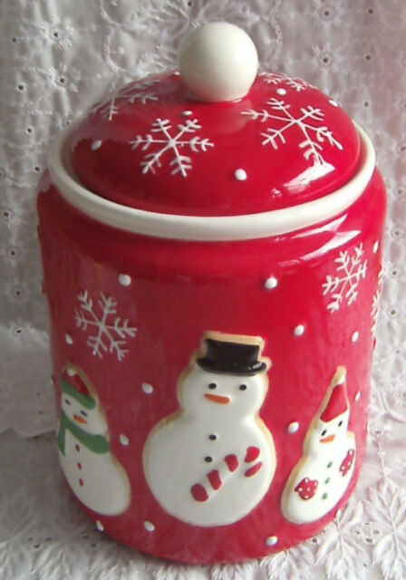 Hallmark Red & White Holiday Snowman Cookie Jar Canister 2011 Christmas 9 1/2""