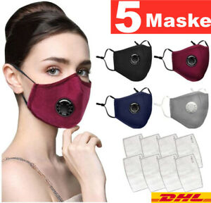 Maske Mundschutz mit Frei PM2.5 Filter & Ventil Behelf-Mund-Nasen-Atem-Schutz DE