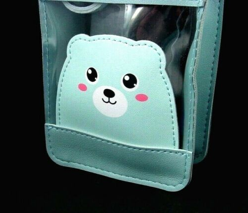 light blue colored crossbody shoulder bag with cute bear cub 1824