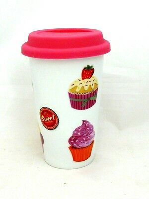 Cupcakes Design Double Walled Ceramic Travel Mug with Silicone Lid