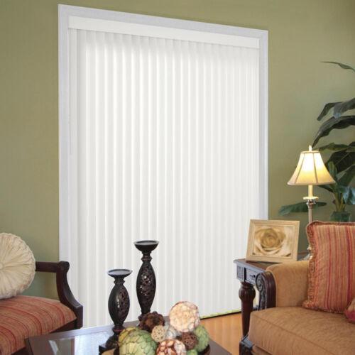 Vertical Blinds 66 in. x 84 in. Crown White 3.5 In. Reversible Steel Head Rail