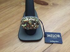 MILOR Italy Sterling Silver Gold Druzy Quartz Bold Ring Sz.10,NWT