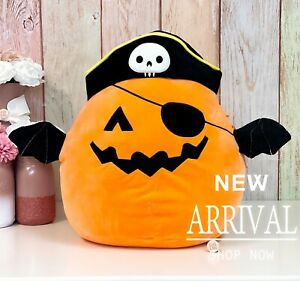 "Squishmallow Halloween 16"" Inch Large Paxton Pumpkin Pirate Bat NEW HTF LT ED"