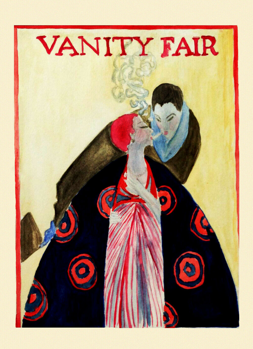 VANITY FAIR COVER FASHION COUPLE SMOKING CIGARETTE SMOKE VINTAGE POSTER REPRO