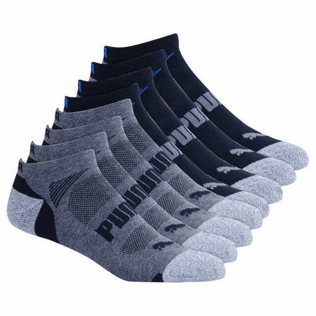 Puma 8 Pair Crew Cool Cell Mens Socks-Shoe Size 6-12-Black/Grey-NWT