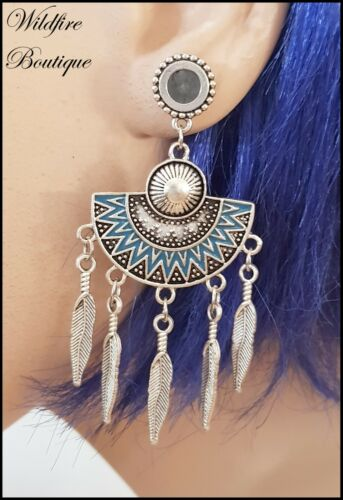 Pair Stainless Steel Silver Feather Turquoise Fan Dangle Ear Tunnels Plug 6-30mm