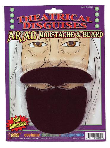 ARAB BLACK MOUSTACHE /& BEARD SET Sheik Fake Facial Hair Mustache Goatee King Kit