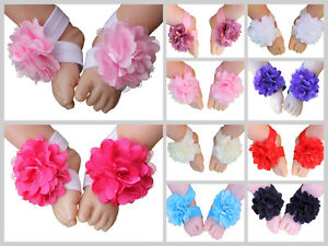 Baby-Barefoot-Sandals-Satin-Mesh-Flower-Shoes-Footwear-Infant-Toddler-Photo-Prop