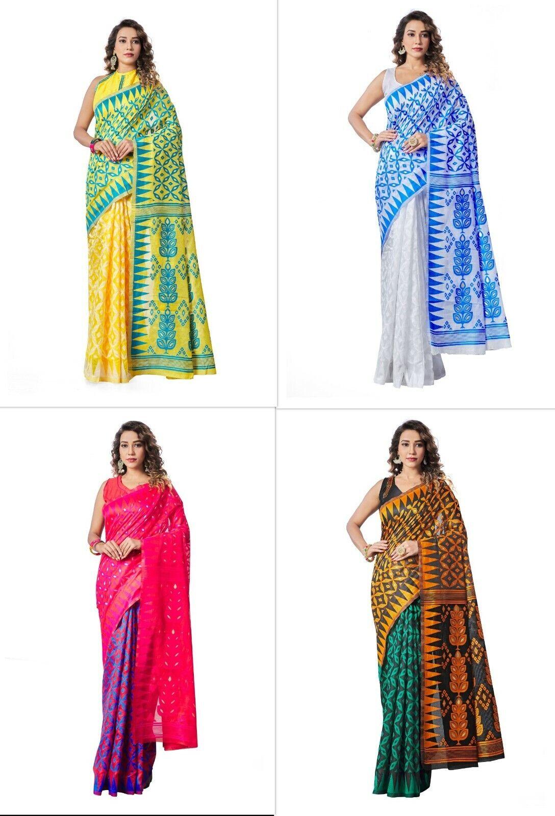 Heavy Cotton Silk Saree Indian Wedding Wear Pakistani Designer Sari Blouse