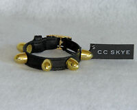 Cc Skye Black Leather 18k Gold Filled Bullet Cuff Bracelet - Msrp $175.00 -