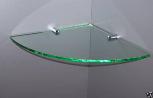 ACRYLIC GLASS LOOK CORNER SAFETY SHELF CHROME FIXINGS