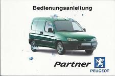 PEUGEOT PARTNER Betriebsanleitung 2001 Bedienungsanleitung Handbuch Bordbuch BA