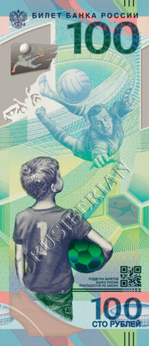 NEW RUSSIA 100 RUBLES 2018 FIFA WORLD CUP FOOTBALL POLYMER BANKNOTE  *A2