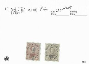 CANADA 1859 PRINCE ALBERT,SCOTT 17 AND 17B[17ii] USED.
