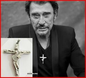 JOHNNY-HALLYDAY-PENDENTIF-CROIX-amp-GUITARE-L-039-ORIGINAL-Collection-JH-COLLIER