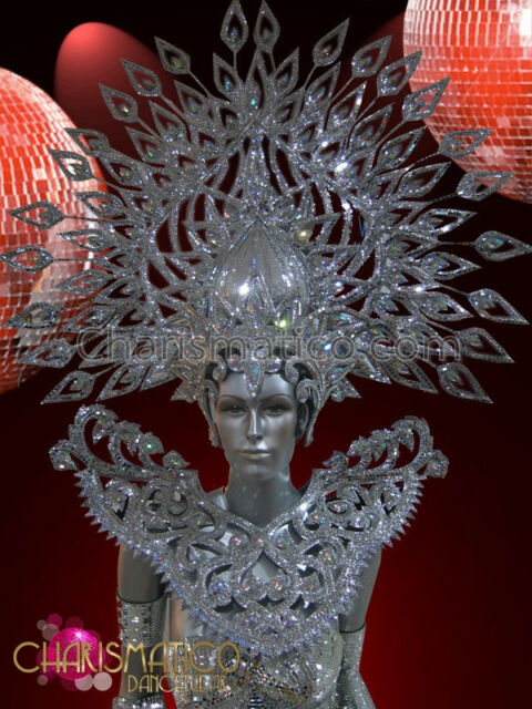 CHARISMATICO Mirror Tiled, Crystal Encrusted Men's Silver Shield Headdress Set