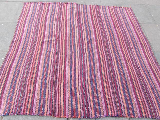 Old TRIBAL NOMADE fait à la main persan oriental rose laine Jajim Kilim 197x184cm