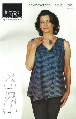 Indygo Essentials Asymmetrical Top /& Tunic Pattern XS-3XL by Amy Barickman DIY
