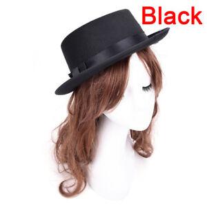 207d747fb Details about Men Women Vintage Boater Sailor Wide Brim Fedora Felt Trilby  Flat-topped Hat Ws
