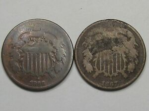 2-Obsolete-US-Two-Cent-Piece-Coins-1866-Old-Cleaning-amp-1867-21