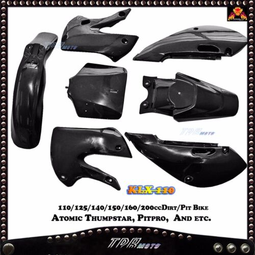 Black Plastics Fender FOR KAWASAKI KLX110 KX65 110 125 140 150cc Pit Dirt Bike