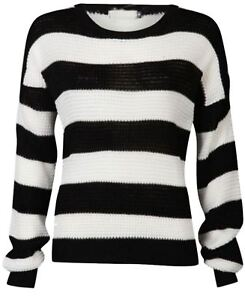 9e94bf39b2 Details about Ladies Black White Monochrome Stripe Jumper Womens Long  Sleeve Chunky Knit Top