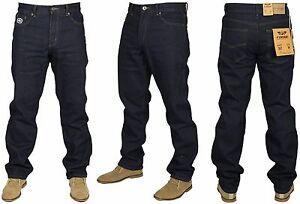 Mens-Big-Tall-King-Size-Jeans-Dark-Wash-Blue-Straight-Leg-Denim-Trouser-Pants